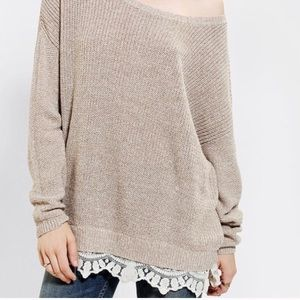 UO Pins and Needles Lace Trim Oversized Sweater